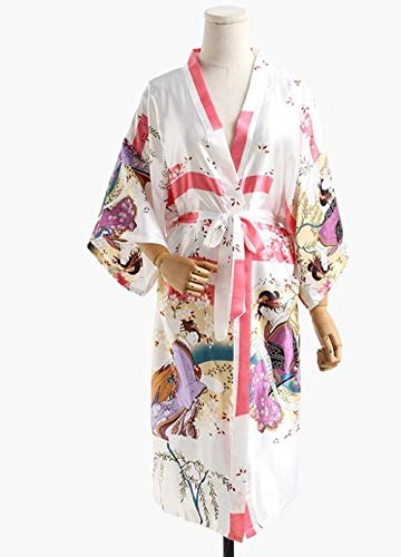 Schoonheid Zijden Kamerjas Zomer Japanse Kimono Gewaad Vrouwelijke Gedrukte Bloemen Lange Kimono Nachtjapon Badjas