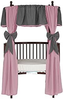 Baby Doll Bedding Reversible Round Crib Curtains, Grey/Pink