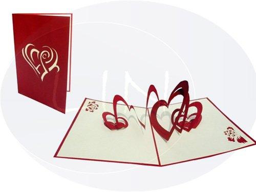 Lin Carte pop-up 3D pour Saint-valentin ou un mariage, coeur à coeur