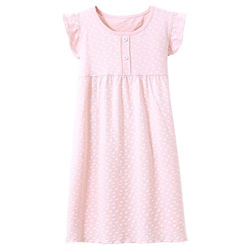 Prinzessin Nachthemden für Mädchen Kurzarm Kinder Schlafanzüge Rundkragen Rosa Gepunktet 8 Jahre