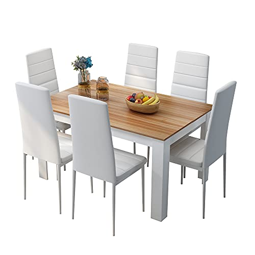 Lucky UK Dining Table and Chairs Set 6, Dining Room Sets with High Back Faux Leather Chair, Kitchen Home Office(Oak Table White Chairs)