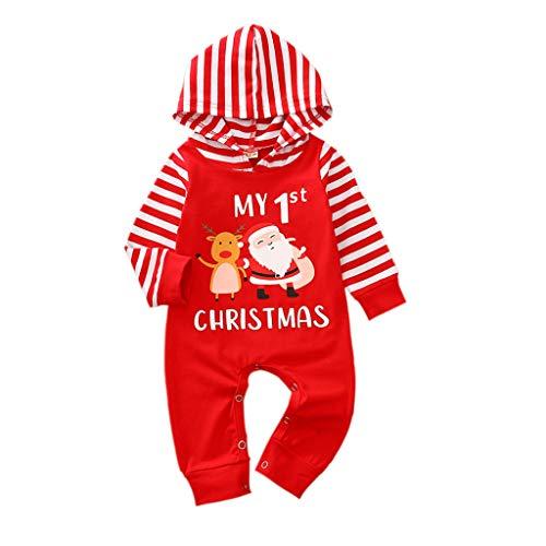 FeMereina Newborn Baby Girls Boys Christmas Outfits My First Christmas Romper Stripe Bodysuit Jumpsuit Xmas Pajamas Set 0-24M (Red Santa Claus, 3-6 Months)