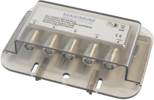 Maximum DiSEqC 4/1 - Switch para equipos por satélite (4 puertos coaxiales, 75 Ohmios), gris