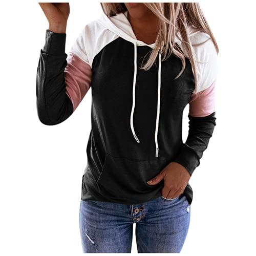 Sudadera con Capucha para Mujer Mangas largas, CNBOY Nuevo Elegantes Moda Cordón de Costura Pullover Blusas Camisetas Chica Baratas Tallas Grandes Standard Hoodie (Negro, L)