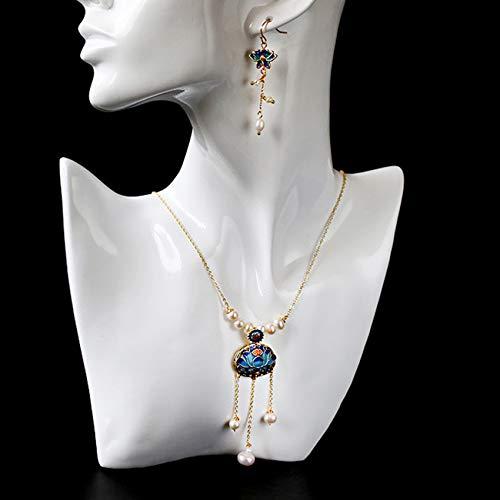 Feng-Shui-Halskette Für Frau Reichtum Ohrringe Chinesische Landschaft Thai Blau Set Kupfer Überzogen 14K Lotus Perlen-Troddel-Halsketten-Ohrringe Locken Glücks Geschenk,Set