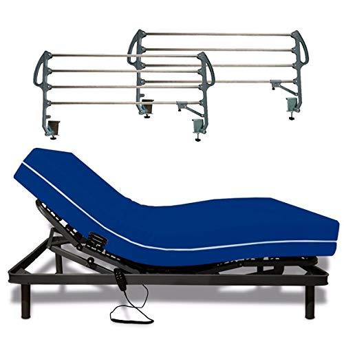 SOMNIA Pack Cama Articulada Reforzada 5 Planos + Colchón Sanitario | Hospitalario | Sanitario | Funda Impermeable e Ignífuga | 105x200