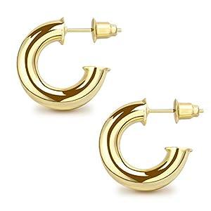 JSJOY Gold Hoop Earrings for Women, 14K Gold Hoop Earrings for Women,Chunky Hoop Earrings, Rose Gold, Lightweight, 25mm, 30mm