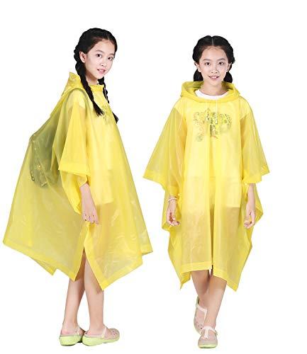 HLKZONE Rain Poncho for Kids, [2 Pack] EVA Kids Raincoat Reusable Rain Coat Jacket for Kids, Boys and Girls 6-13 Years Old