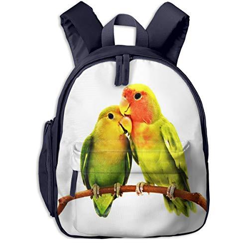 Mochilas Infantiles, Bolsa Mochila Niño Mochila Bebe Guarderia Mochila Escolar con Pájaro Loro Agapornis para Niños de 3 A 6 Años de Edad