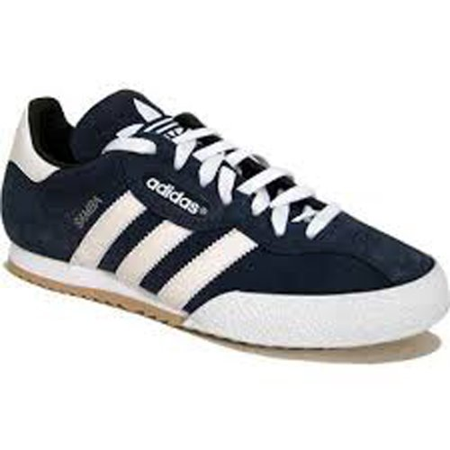 Adidas Samba Super Suede Leather Indoor Soccer Shoe - Navy Suede/White - UK 9.5