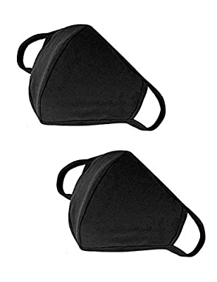 Men's Black Cotton Face Mask - Premium Comfort 2 Pack 3D Smart Large Big XL Over Size Full Cover Made in USA