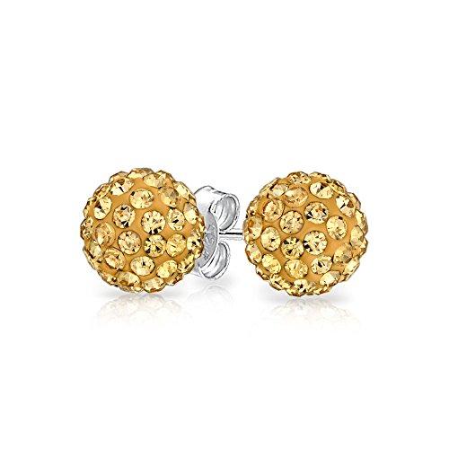 Runde Einfache Grundlegende Golden Pave Kristall Disco Kugel Ohrstecker Frauen Für Teen 925 Sterling Silber 8Mm
