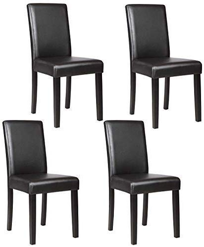 Mecor Upholstered Dining Chairs Set of 4, Kitchen PU Leather Padded Chair w/Solid Wood Frame Dining Room Furniture (Black)