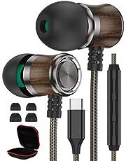 USB C-hörlurar, iMangoo typ C trähörlurar med mikrofon och volymreglage ljudisolerande hörlurar HiFi-ljud stereo Wired in ear hörlurar för Samsung S20 FE S21 Ultra Pixel 5 OnePlus 9 Pro