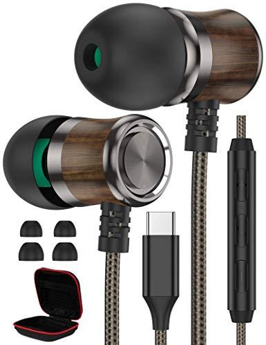 USB C Kopfhörer, iMangoo Type C Holz Kopfhörer mit Mikrofon und Lautstärkeregler Geräuschdämmende Ohrhörer HiFi-Klang Stereo Wired in Ear kopfhörer für Samsung S20 FE S21+ Ultra Pixel 5 OnePlus 9 Pro