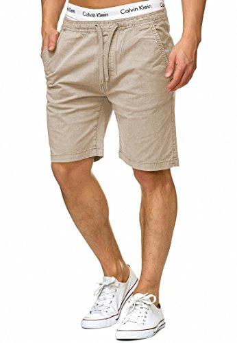 Indicode Herren Kelowna Chino Shorts mit 4 Taschen & Kordel aus 98% Baumwolle   Kurze Hose Regular Fit Bermudas Sommerhose Herrenshorts Short Men Pants Chinohose für Männer White Pepper M