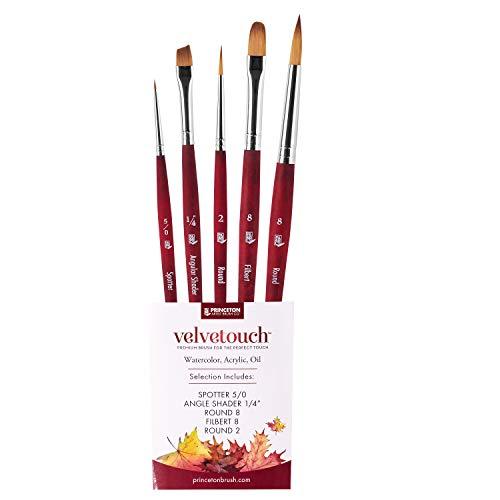 Princeton Velvetouch 3950 Series - 5 Paint Brush Set - Premium Watercolor Brushes - Acrylic Paint Brushes - Oil Paint Brushes - Artist Paint Brushes & Detail Brush Set - Professional Painting Brushes