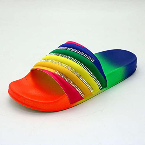 WoJogom 2021 Mujeres Playa Zapatillas de Goma Zapatos Mujer Chanclas Rhinestone sildes Sandalias de Caramelo Pisos al Aire Libre