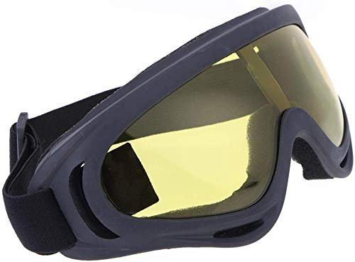 Proberos® Uv400 Windproof X400 Goggles Motorcycle Glasses for Outdoor Riding (Yellow