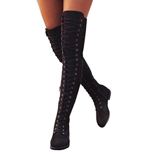 Bottes Cuissardes Chaussures Femmes,Cross-tied Platform Chaussures Bottes hautes sur les bottes au genou Bottes à talon plat GongzhuMM (CN 39 (EU 38))