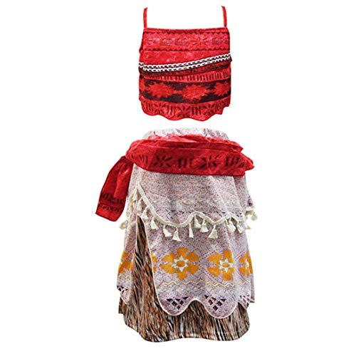 Prinzessin Kleid Karneval Moana Kostüm Verkleidung Rock Set für Kinder Party Cosplay Halloween Fasching für Kinder Mädchen