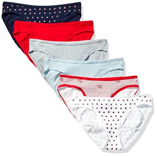 Amazon Essentials Women's 6-Pack Cotton Bikini Underwear, Valentines, M