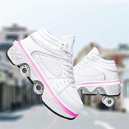 Inline Skate, 4-kołowe regulowane buty na rolkach, buty do wrotek ładowane przez USB Modne buty rolkowe LED, EUR41