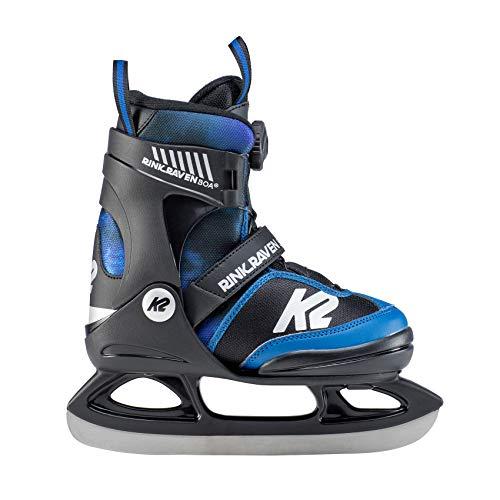 K2 Skates Jungen Rink Raven Ice BOA Skates, Schwarz-Blau, 32-37 EU