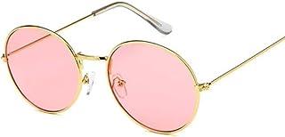 QWKLNRA - Gafas De Sol para Hombre Montura De Color Dorado Retro Lente Rosa Gafas De Sol Redondas contra-UV Portátiles Retro Mujer Gafas De Sol para Mujer/Hombre Aleación Espejo Ciclismo Viajes PE