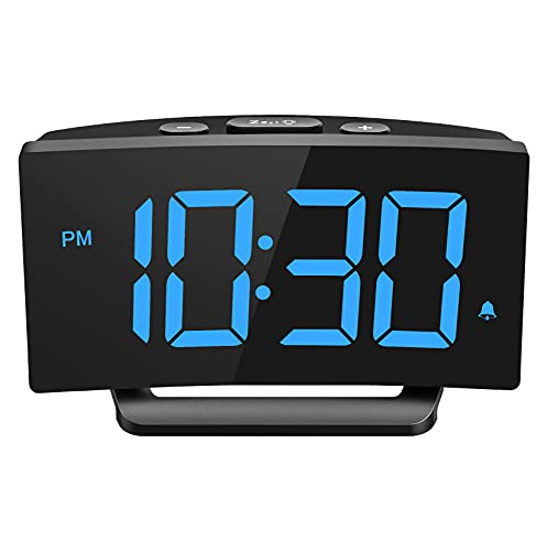 Alarm Clocks Bedside, Digital Alarm Clock with 6-Level Adjustable Brightness and Large Clear Readout, 3 Options for Alarm Sounds, Adjustable Volume, Simple to Use, Mains Powered Only, Good for Bedroom