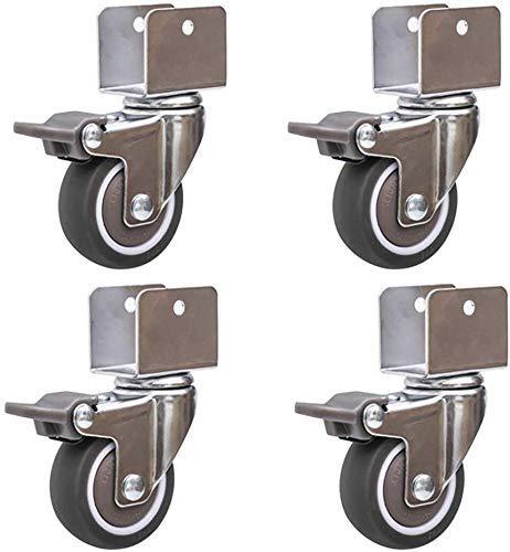 DGHJK 4er-Set - Rollenräder U-Halterung Universal-Drehmöbelrollen 2 Zoll 50 mm 180 kg Krummrollen aus Gummi mit Bremse Leises Rollen für Kinderbett Babybett 16 mm 18 mm 20 mm 25 mm Schlitz, 4