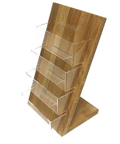 LINLAY Intarsien & Gravuren 4X DIN A6 Postkartenhalter aus Eiche Holz Acryl Tischmodell