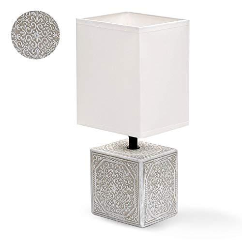 Aigostar 197063 - Lámpara de cerámica de mesa, cuerpo cuadrado con grabado, pantalla de tela cuadrada color blanco, casquillo E14. Perfecta para el salón, dormitorio o recibidor.Beige Cuadrada