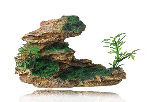 FEDOUR Aquarium Mountain View Stone Ornament, Moss Tree Rock Cave Landscape Artificial Fish Tank Decoration, with 6pcs Small Plants (Ash Browns)