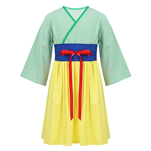 TiaoBug Baby Girls Classic Chinese Asian Princess Dress Movie Cosplay Costume Kimono for Halloween Heroine Party Green 3
