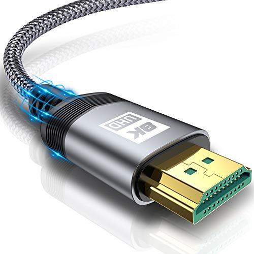 8K HDMI 2.1Kabel 1.5M,AviBrex 8K@60Hz 4K @ 120Hz HDTV 7680 x 4320 UHD HDMI 2.1 3D Highspeed 48Gbps HDMI Kabel Ethernet HDR eARC Präzisionsstecker Dynamisches HDR HDCP 2.3 zu Blu Ray,PS5/4