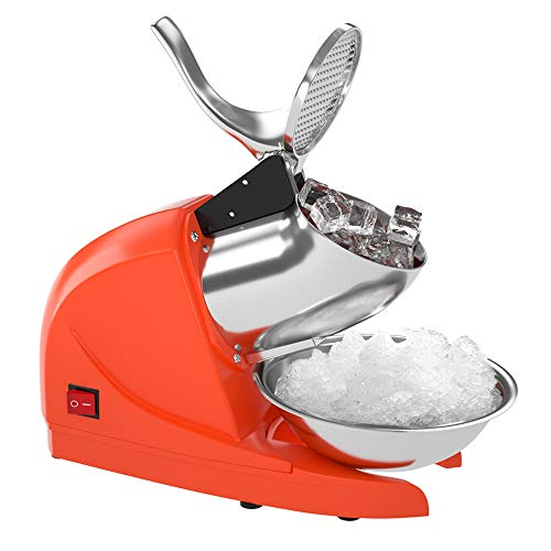 OKF Ice Shaver Electric Three Blades Snow Cone Maker Stainless Steel Shaved Ice Machine 220lbs/hr Home and Commercial Ice Crushers (Orange)