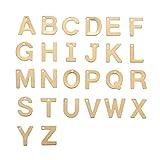 DanLingJewelry 304 Colgantes de acero inoxidable con letras del alfabeto mezcladas para manualidades, pulseras, collares, joyas y joyería (color dorado-100 unidades, 11 x 6-12 x 0,8 mm, agujero: 1 mm)