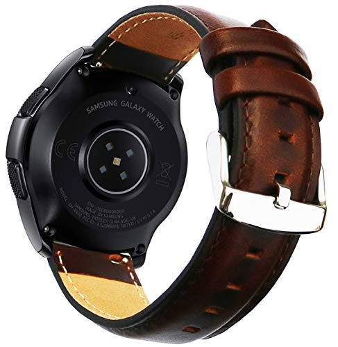 OTOPO for Garmin Vivoactive 3 Bands / Galaxy Watch 42mm Band / Ticwatch E Band, 20mm Quick Release Luxury Genuine Leather Strap Accessory for Women Men Smartwatch - Brown