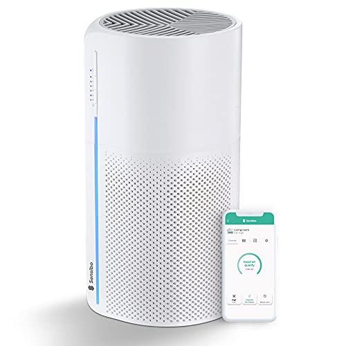 Sensibo Pure - Purificador de aire inteligente con Wi-Fi, calidad médica, filtro HEPA y de carbón Elimina polvo, contaminación, caspa de mascotas, olores Compatible con iOS, Android, Alexa y Google