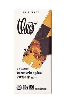 Theo Chocolate Turmeric Spice Organic Dark Chocolate Bar 70% Cacao 6 Pack | Vegan Chocolate Fair Trade