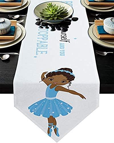 VJRQM Camino de mesa de yute de polialgodón para fiestas, cenas, vacaciones, cocina, decoración de mesa diaria, ballet africana en vestido azul, cita inspiradora, 40,6 x 182,8 cm