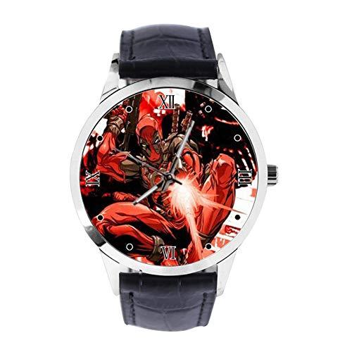 Deadpool - Reloj de pulsera unisex analógico de cuarzo con correa de cuero para niñas y niños
