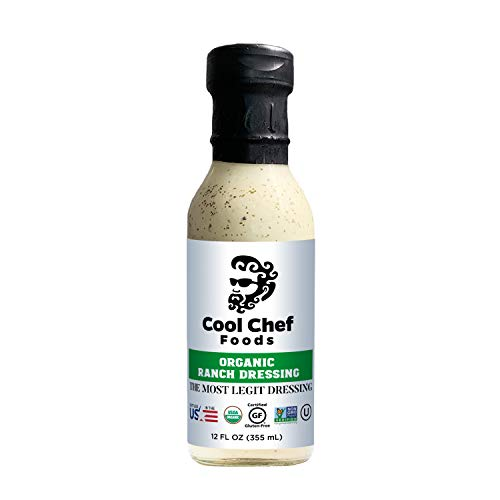 Cool Chef Foods Organic Ranch Dressing - Non-GMO- Bottled in the USA - Gluten-Free, Dairy-Free, Kosher & Low-Carb - 12 FL OZ (355 ML) Bottle