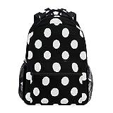 ALAZA Black White Polka Dot Backpack Daypack College School Travel Shoulder Bag