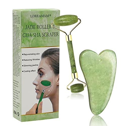 Jade Massagegerät & Gua Sha Set,100% Natürliche Massagestein Quartz,Gesicht Jade Gua Sha,für Augen Anti-Aging Nacken Verjüngung Schönheit Hautpflege Gerät