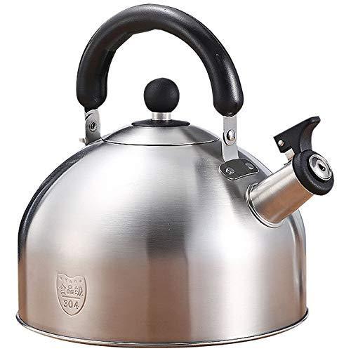 GJJSZ 4L Tea Kettle - Surgical Whistling Stove Top Kettle Théière with Layered Capsule Bottom,Poignée en Silicone,Finition Miroir