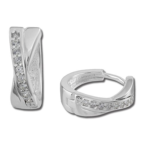 SilberDream Ohrringe 15mm Damen Silber Creolen X-Form Zirkonia weiß SDO380W