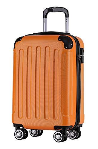BEIBYE Zwillingsrollen Hardcase Reisekoffer Koffer Trolleys Hartschale in XL-L-M in 14 Farben (Orangen, Handgepäck (55cm))