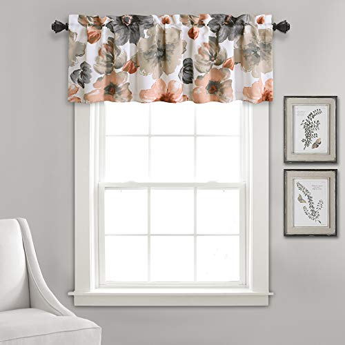 """Lush Decor Window Curtain Valance Leah Floral Insulated Grommet, 18"""" L, Coral and Gray"""